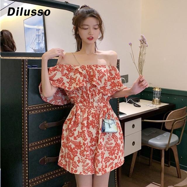 Women's Summer Off-shouldered Ruffle Jumpsuit Floral Printing Jumpsuit Bodysuit Pants Jumpsuit Wide Legs Jumpsuit#D3 1