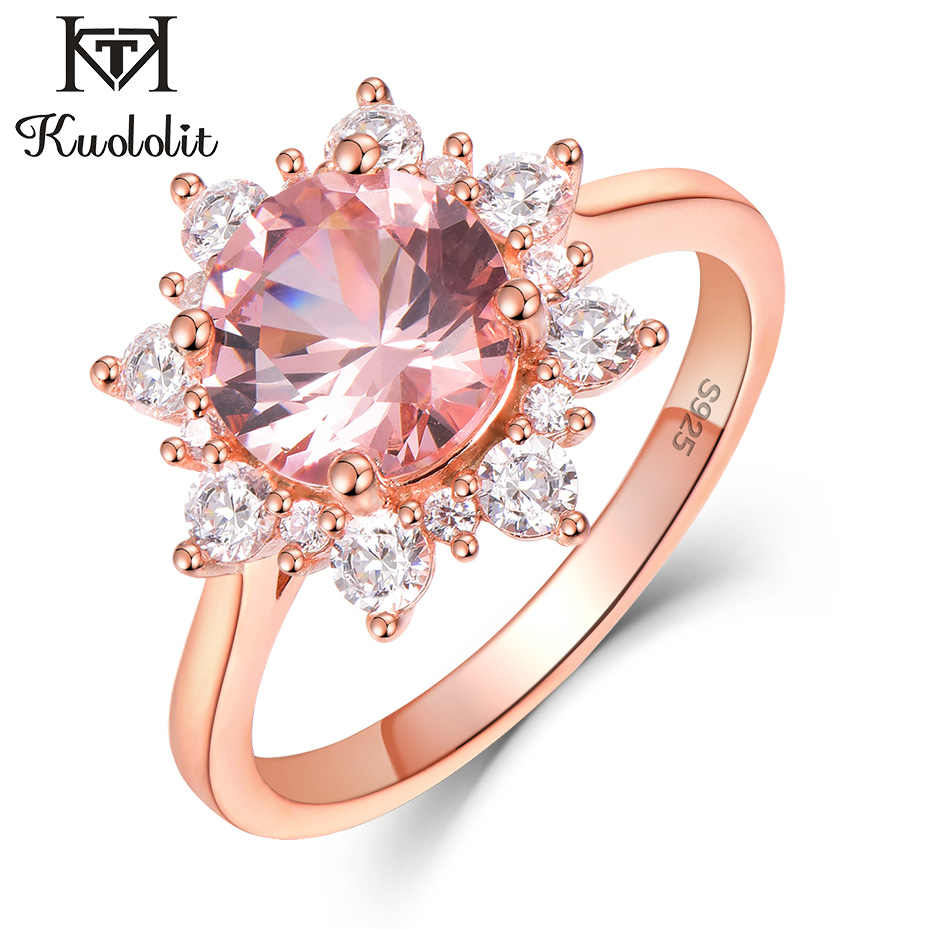 Kuololit Morganite Gemstone Rings for Women 925 Sterling Silver Round Cut Stone Rose Gold Ring Wedding Engagement Fine Jewelry
