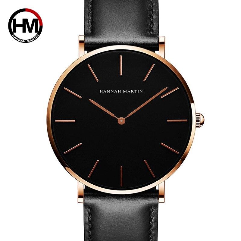 Japan Quartz Movement Men Watch Luxury Black Slim Simple Wristwatch Fashion Leather Band Waterproof Relogio Masculino