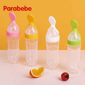 6*21cm Baby Squeezing Feeding Spoon  Infant Cereal Food Spoon Infant Cereal Supplement Silicone Feeding Bottle Training Spoon 2020 food supplement bottle vegetable fruit feeding spoon rice cereal bottle baby dishes infant baby squeezing feeding bottle