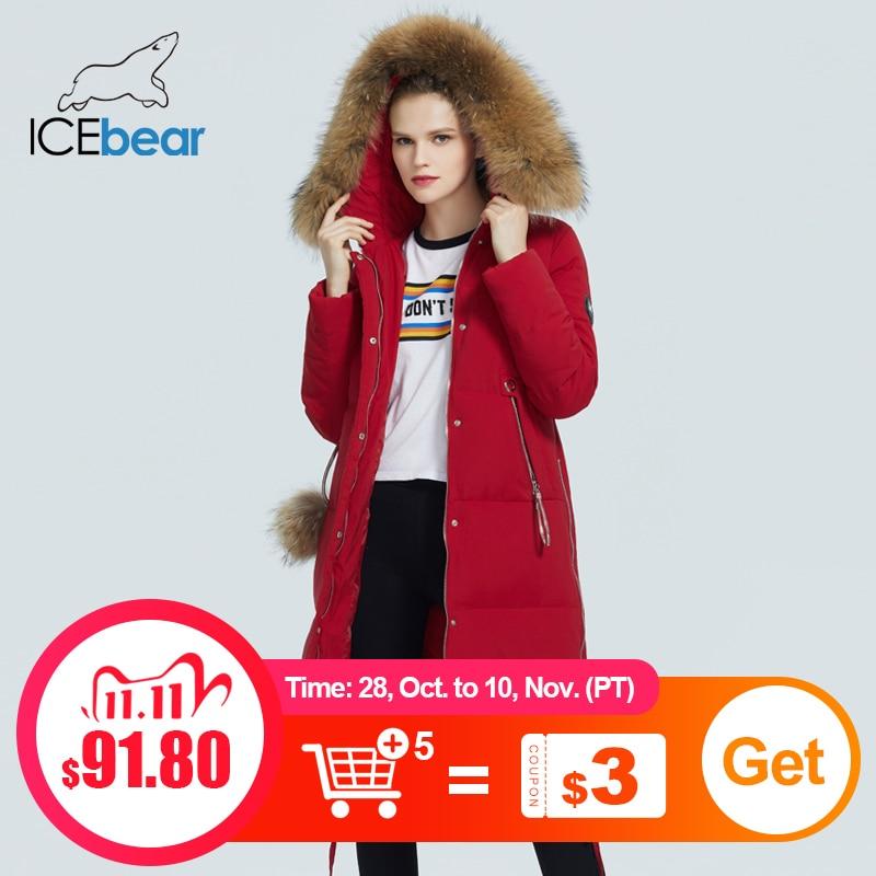 ICEbear 2020 зимняя женская куртка женская куртка с меховым воротником ветрозащитная и теплая куртка модная женская одежда GWD20263D|Парки| | АлиЭкспресс