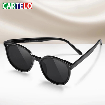 CARTELO oculos męskie okulary akcesoria dla mężczyzn aluminium magnezu męskie okulary mężczyźni spolaryzowane okulary z powłoką lustrzaną tanie i dobre opinie CN (pochodzenie) Serce Dla dorosłych STAINLESS STEEL UV400 400mm NO55 450mm
