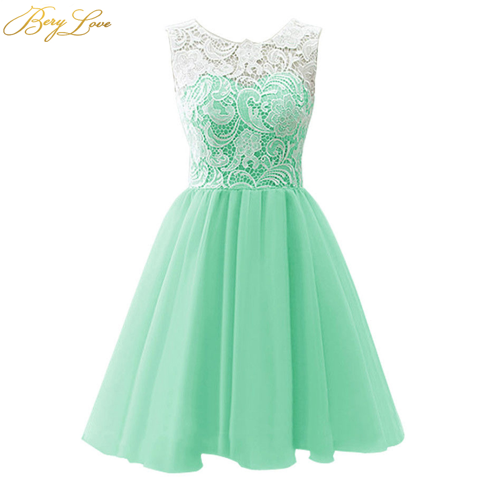 BeryLove Short Mint Homecoming Dress 2020 Blush Pink Lovely Cute Mini Lace Graduation Gown Cocktail Party Dresses For Prom