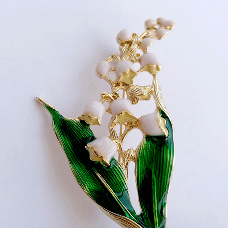 Leaf Brooch Jewelry Lily Valley Floral Women Enamel Gold-Color Trendy for Alloy White