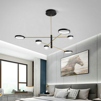 Nordic Matte Black LED Dimmable 4/6/8 Multi Head Chandelier for Bedroom Living Room Restaurant Modern Simple Home Design Light