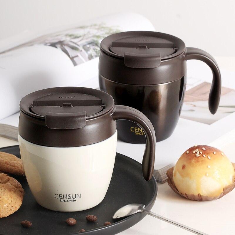 Frühstück tasse einfache kaffee becher weiblichen Japanischen stil paar mit deckel löffel ins wind isolierung trinken tasse - 2