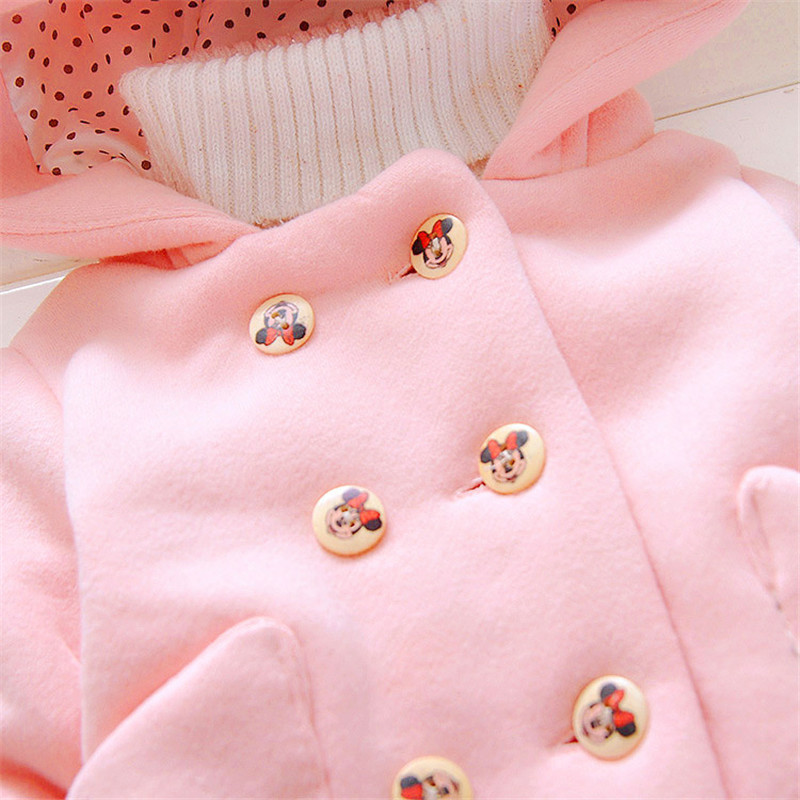 Infant Baby Girls casual Thickening Woolen Coats For Children's hooded shirt bow pocket outerwear For Girl jackets clothes