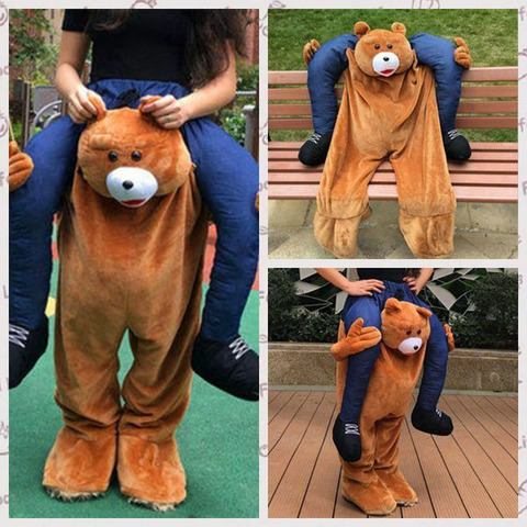 Halloween Carry Teddy Bear Mascote Traje Passeio no Piggy ME Adultos Vestido Cosplay