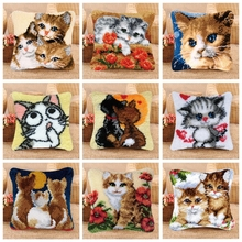 Latch Hook Pillowcase Kits Cartoon Cat Embroidery DIY Needlework Sets Unfinished Crocheting Yarn Mat Rug Kit Set H