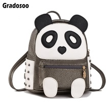 Gradosoo Rivet Backpack Women Panda Design Shoulder Bag Female Mini Bags For School Small New LBF620