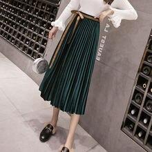 Женская винтажная осенне зимняя бархатная юбка с высокой талией