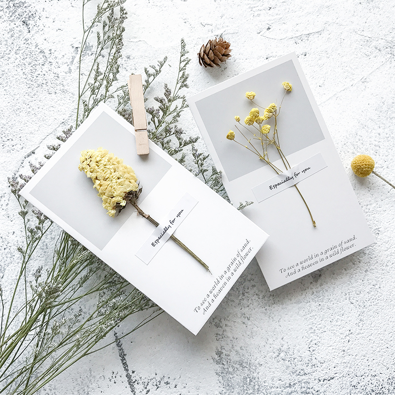 1pc DIY Creative Flower Specimen Birthday Card No Envelope Dry Flower Thanksgiving Blessings Message Greeting Card Holiday