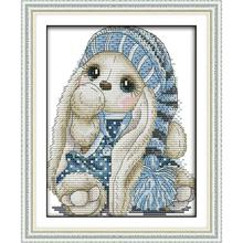 Joy Sunday The mini rabbit DIY Needlework 11CT 14CT Printed Counted Water Soluble Cloth Cross Stitch Kit For Home Decor and Gift joy sunday sweetnessand poetic counted cross stitch 11