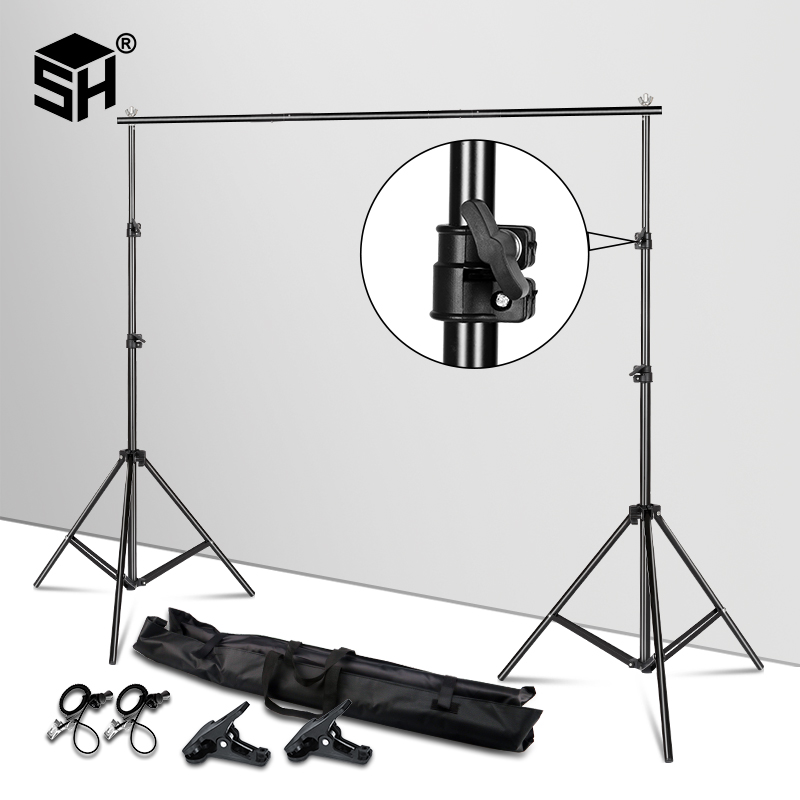 Background Stand Support System Adjustable Backdrops Frame Pro Green Screen Backdrop Crossbar Photo Studio Kit + Carry Bag Clip(China)