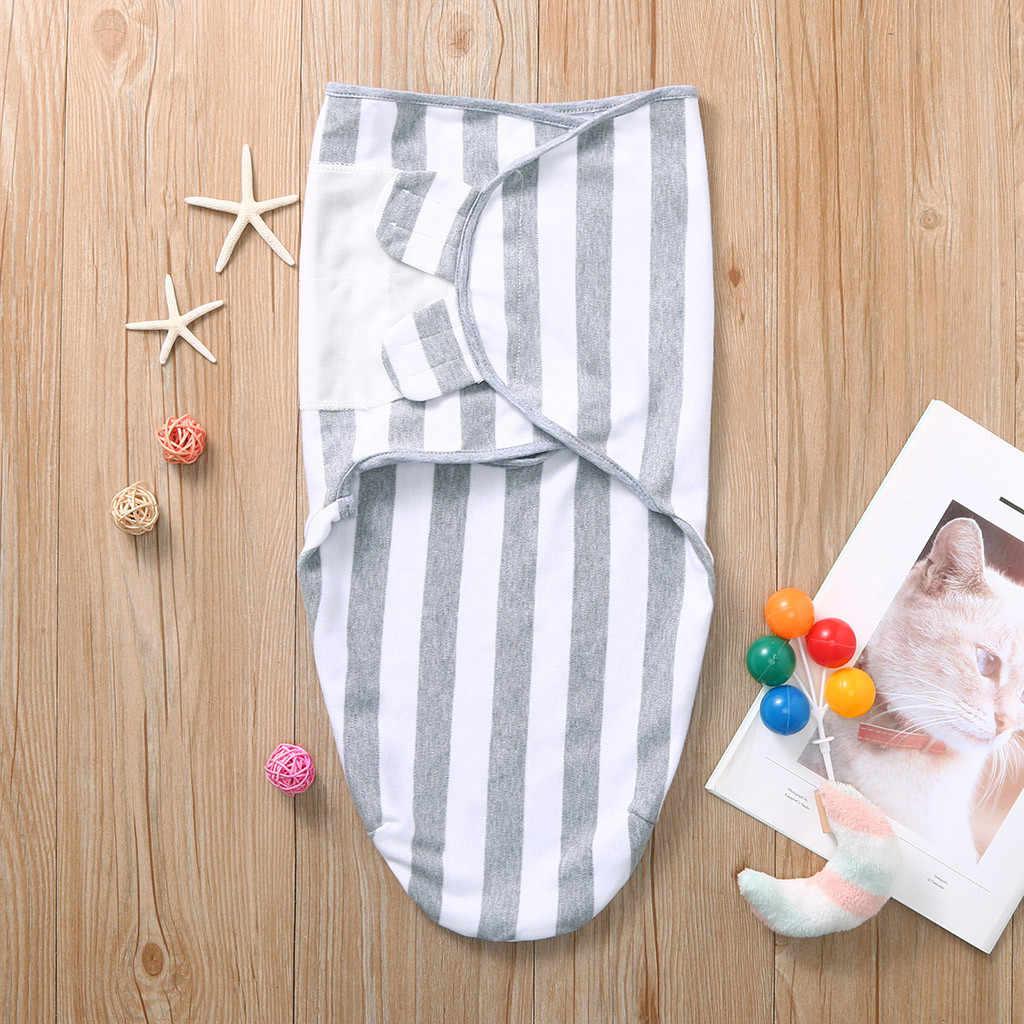 Noworodka otulaczek miękka pieluszka pieluszka gwiazda w paski maluch Swaddleme bawełna organiczna niemowlę dziewczyna Turban Sleepping Bag Sleepsack