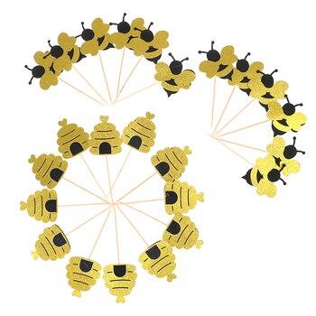 12 sztuk Cute Bee kształt Cupcake papieru ozdoba na wierzch tortu urodziny na przyjęcie do tortu Honeybee przyrządy do zbierania owoców deser materiały dekoracyjne