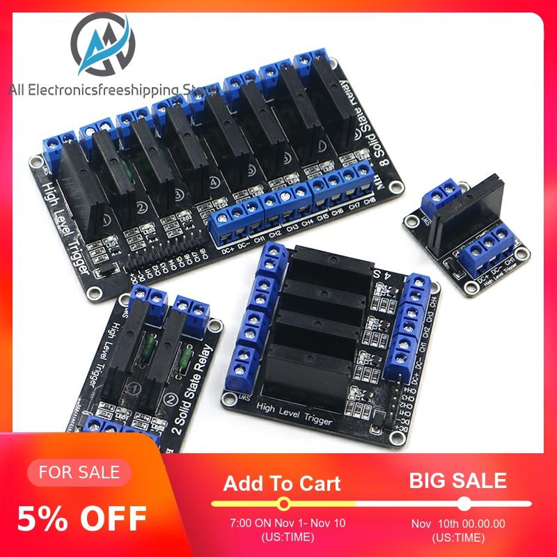 12V 1 Channel SSR Board,1-Channel High Level SSR Module 5V//12V 2A 1 Channel Relay Module DC Control AC With Insurance High Level Trigger