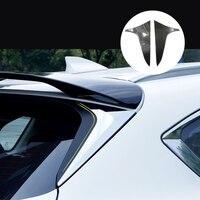 Para mazda CX-5 cx5 2017 2018 2019 2020 fibra de carbono + pu janela traseira spoiler lateral triângulo capa guarnição enfeite