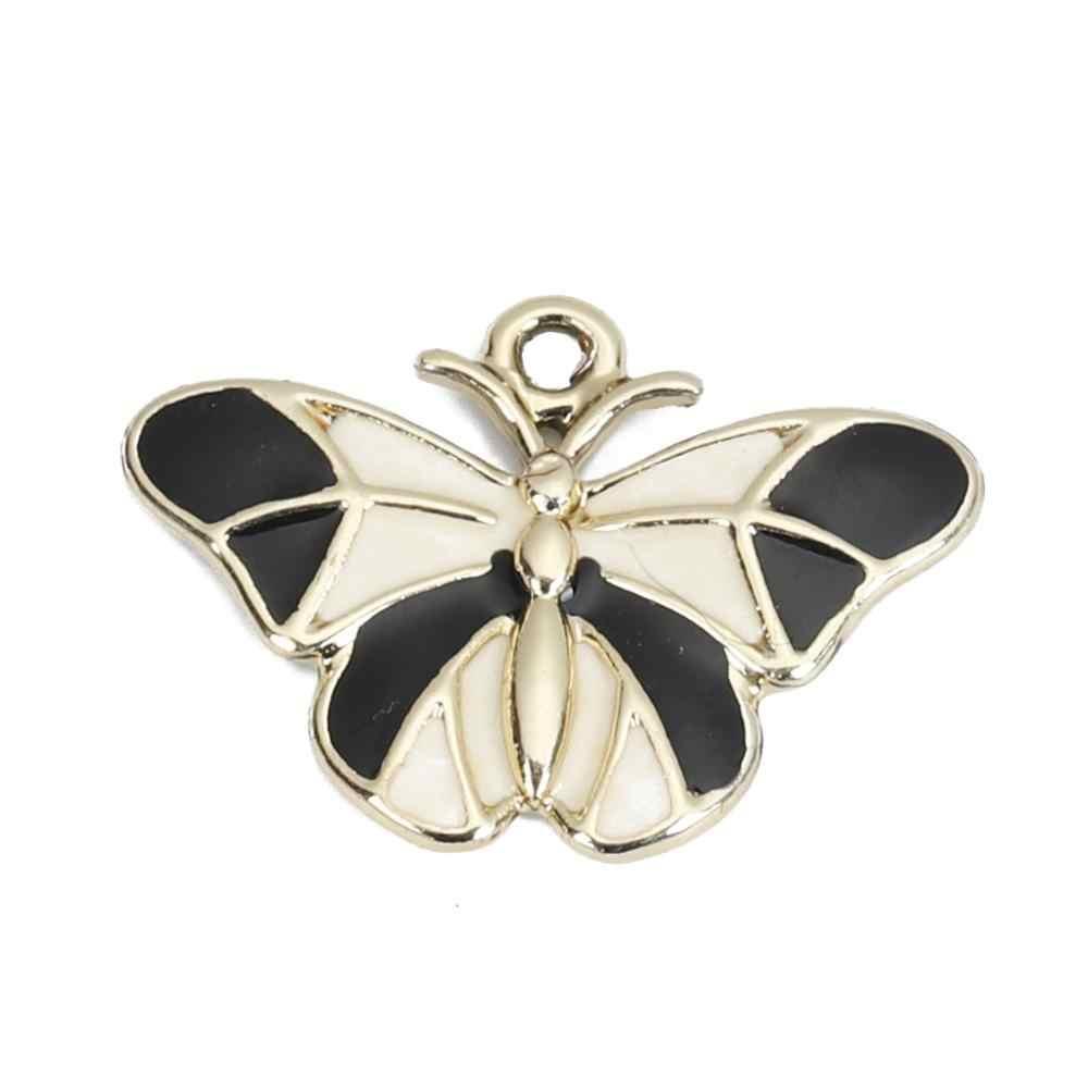 Doreenbeads Fashion Seng Paduan Liontin Butterfly Kelinci Hewan KC Emas Hitam Enamel Perhiasan DIY Temuan, 2 Pcs