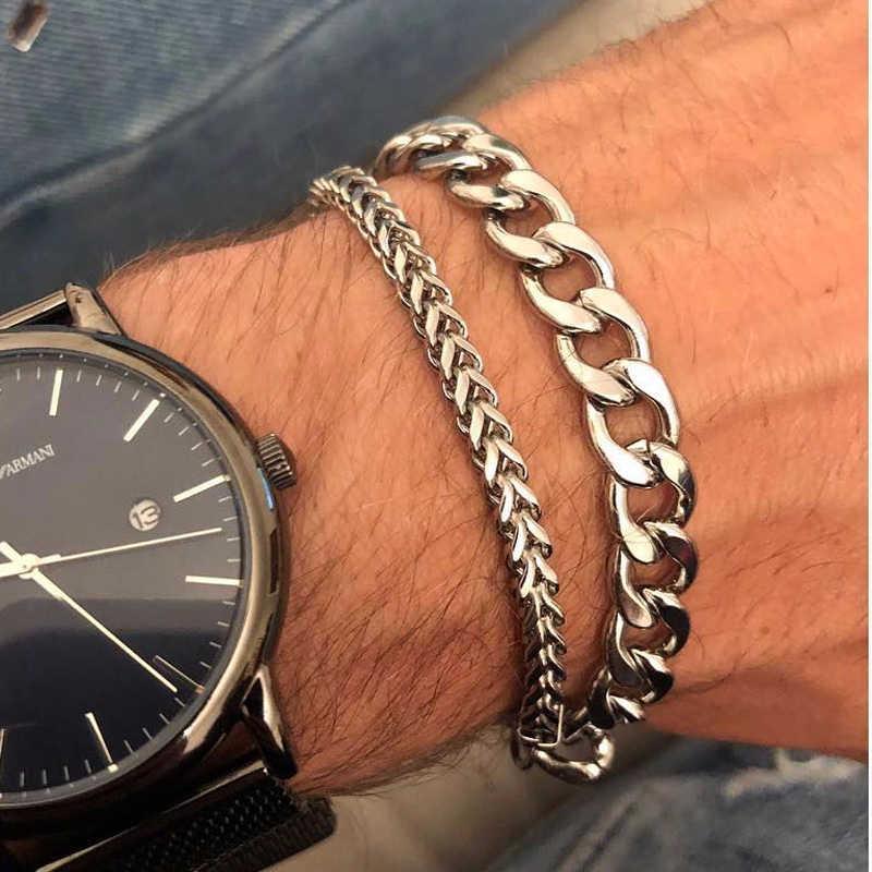 MIAMI kubański LINK CHAIN MEN bransoletka w kolorze srebrnym złoty 8MM stal nierdzewna HIP HOP biżuteria męska 6.8 cala-8.6 cala