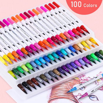 100pc Colorful Pens Dual Tip Brush Marker Pen Watercolor Fine Liner Art Markers For Coloring Drawing Painting Calligraphy andstal double lines art markers pen domi out line pen fine liner marker fineliner calligraphy lettering pen color drawing pens