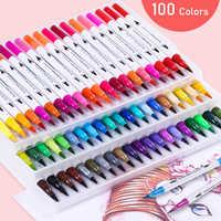 12/18/24/36/48/72/100PCS Colors FineLiner Drawing Painting Watercolor Art Marker Pens Dual Tip Brush Pen School Supplies