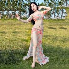 цены Belly Dance Costume Clothes 2pc Set Top Skirt Women Oriental Dance Mesh Stage Performance Suit Latin Ballroom Oriental Dancewear