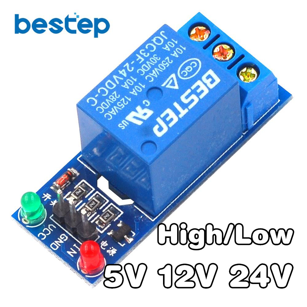 1 Channel Relay Module Interface Board Shield For Arduino 5V 12V 24V High/Low Level Trigger One PIC AVR DSP ARM MCU DC AC 220V