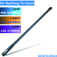 ABBREE Tri band 144/222/435Mhz Tactical Antenna for Baofeng BF R3 UV 82T UV 5RX3 UV 82X3,BTECH UV 5X3 Ham Walkie Talkie Radio