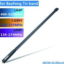 Abxie tri band 144/222/435Mhz antena táctica para Baofeng BF R3 UV 82T UV 5RX3, BTECH UV 82X3 Ham Radio Walkie Talkie