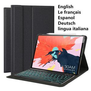 Умный чехол-клавиатура для Apple iPad Pro 12,9 дюймов 2018 3-го поколения с подсветкой для iPad A1876 A1895 a1983. AZERTY QWERTY Spanish
