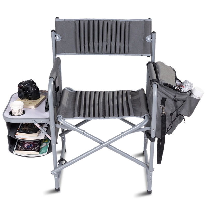 Gray Outdoor Furniture Camping Foldable Compact Director's Chair With Cup Holder And Side Table OP3575