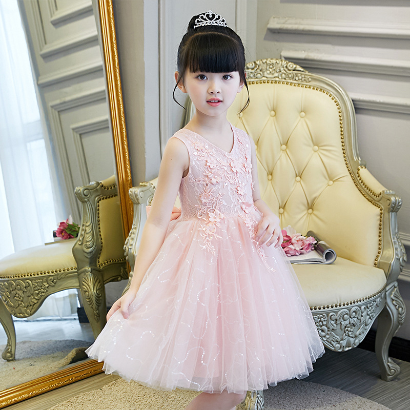 Europe And America Girls Princess Gauze Embroidered Versatile Late Formal Dress Childrenswear Children Summer Formal Dress Flowe