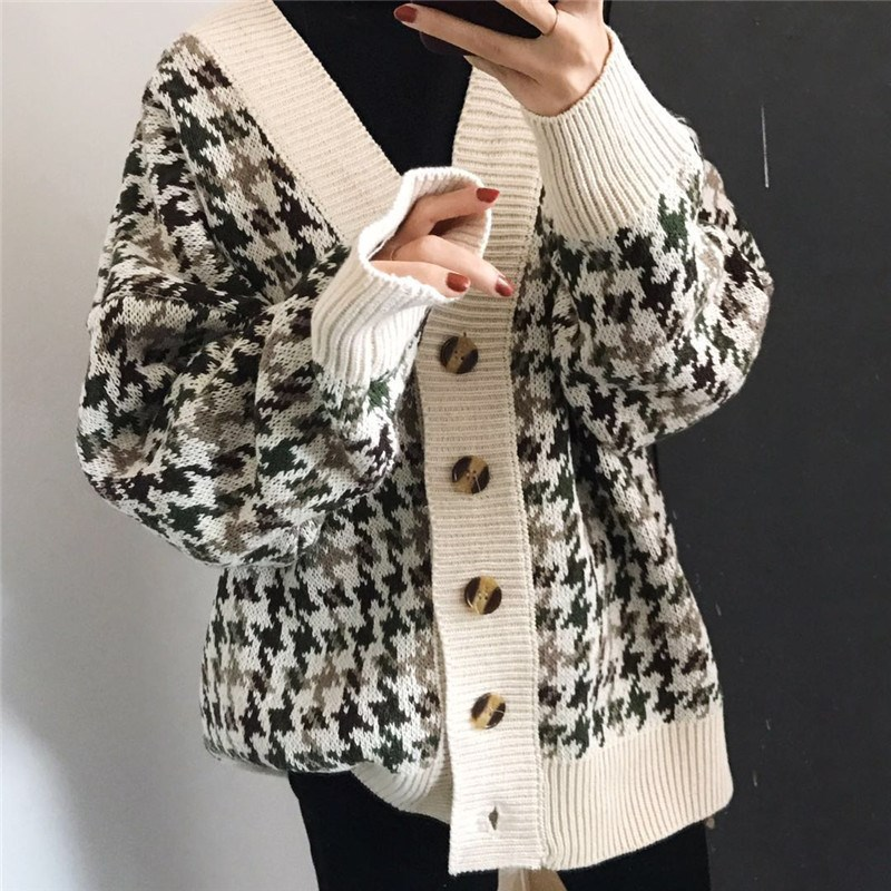 2019 New Autumn Winter Lattice Knitted Long Cardigans Loose Casual Preppy Style Thick Sweaters Jumpers Women Knitting Jackets