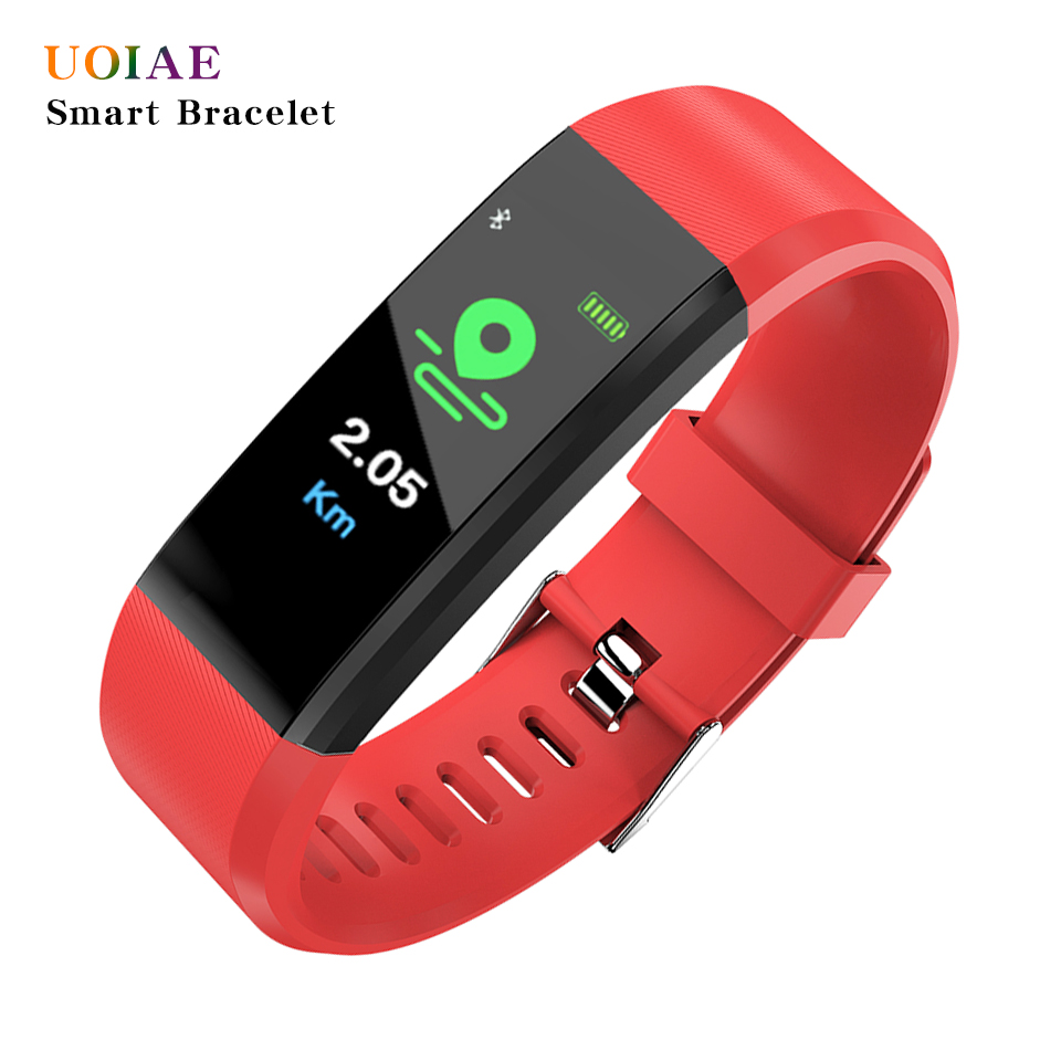 UOAIE Smart Band Watch Heart Rate Blood Pressure Monitor High Brightness Colorful Screen Smart Bracelet Wristband Notification