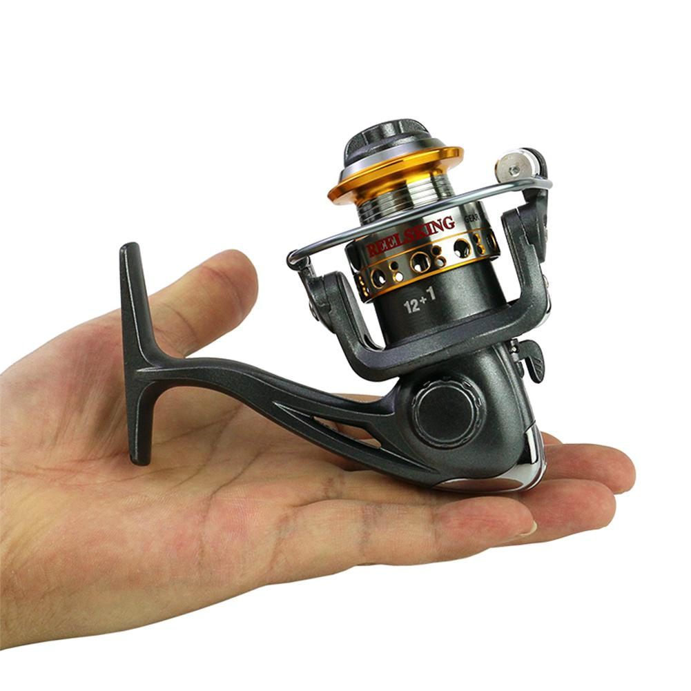 Spinning Fishing <font><b>Reels</b></font> 12BB+1 Bearing 5.2:1 Gear Ratio Mini Pocket Spinning <font><b>Reel</b></font> Metal Coil Cup Lengthened Rocker Arm Fish Wheel image