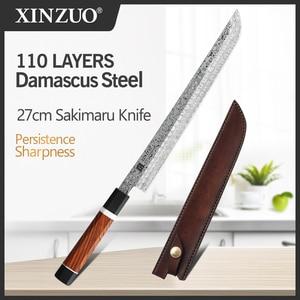 Image 1 - 2020 XINZUO 270mm יפני סושי סכין 110 שכבות דמשק פלדה Sakimaru מטבח סכיני גבוהה פחמן פלדה עם עור נדן