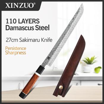 2020 XINZUO 270mm japońskie Sushi nóż 110 warstw Damascus Steel Sakimaru noże kuchenne stal wysokowęglowa ze skórzaną osłoną tanie i dobre opinie CN (pochodzenie) Na stanie Ekologiczne Zhen-QXW270 CE UE Lfgb Noże do filetowania