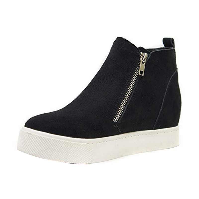 SHUJIN botas de Mujer, botas bajas de cuña, plataforma de otoño, zapatos femeninos de tacón alto con cremallera, botas de moda para Mujer 2019