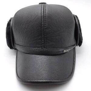 Image 3 - Искусственная кожа бейсбольная кепка зима плюс бархат утолщение Lei Feng шапка среднего возраста мужская теплая наушники шапки для Пап