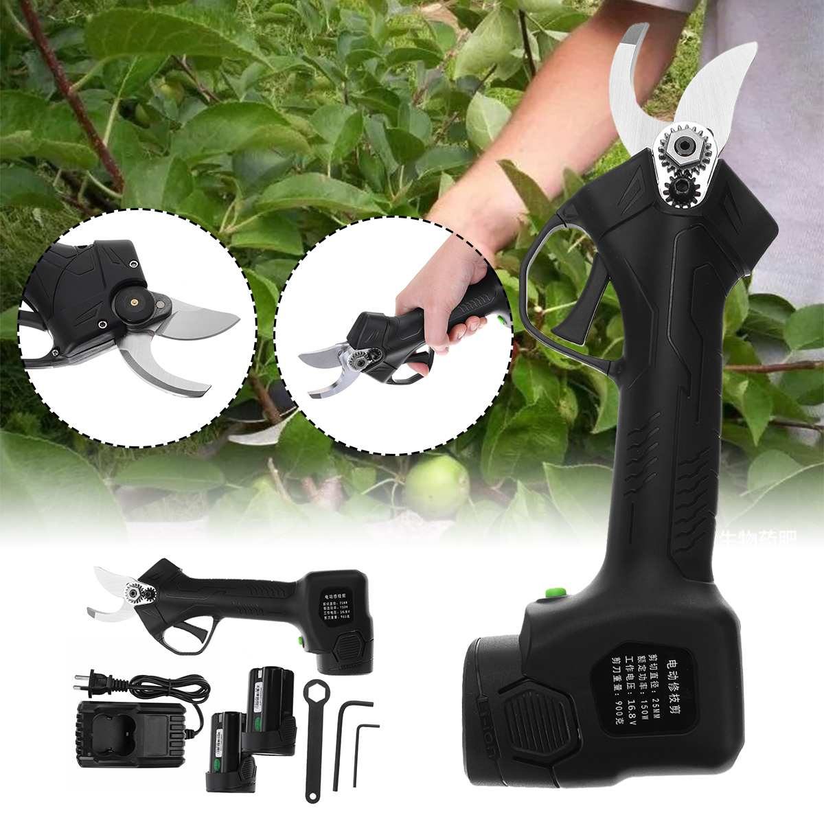 16.8V Cordless Electric Secateur Branch Cutter Pruner Pruning Shears W/ 2Pcs Li-ion Battery Efficient Fruit Tree Bonsai Pruning