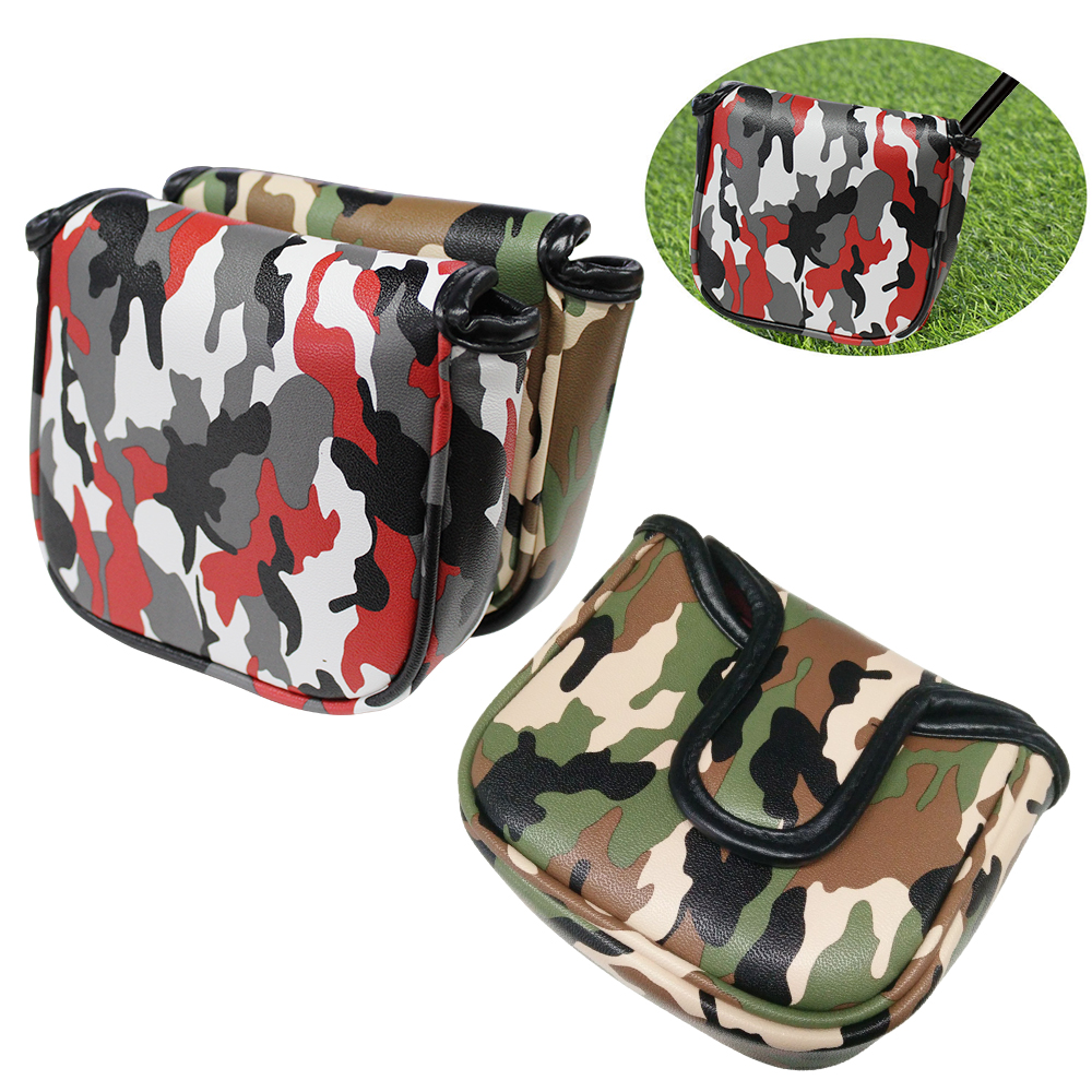 Golf Putter Cover Camouflage Leather PU Magnetic Closure Large Square Mallet Headcover For Golf Putter