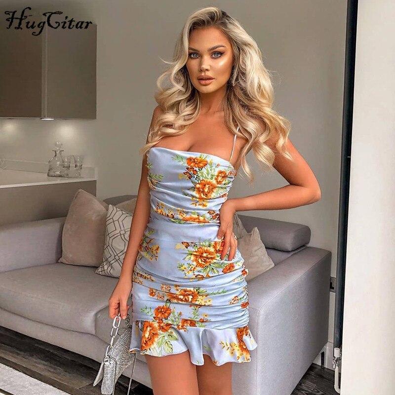 Hugcitar 2020 floral print ruflles patchwork pleated sleeveless sexy mini dress summer women fashion streetwear outfits sundress