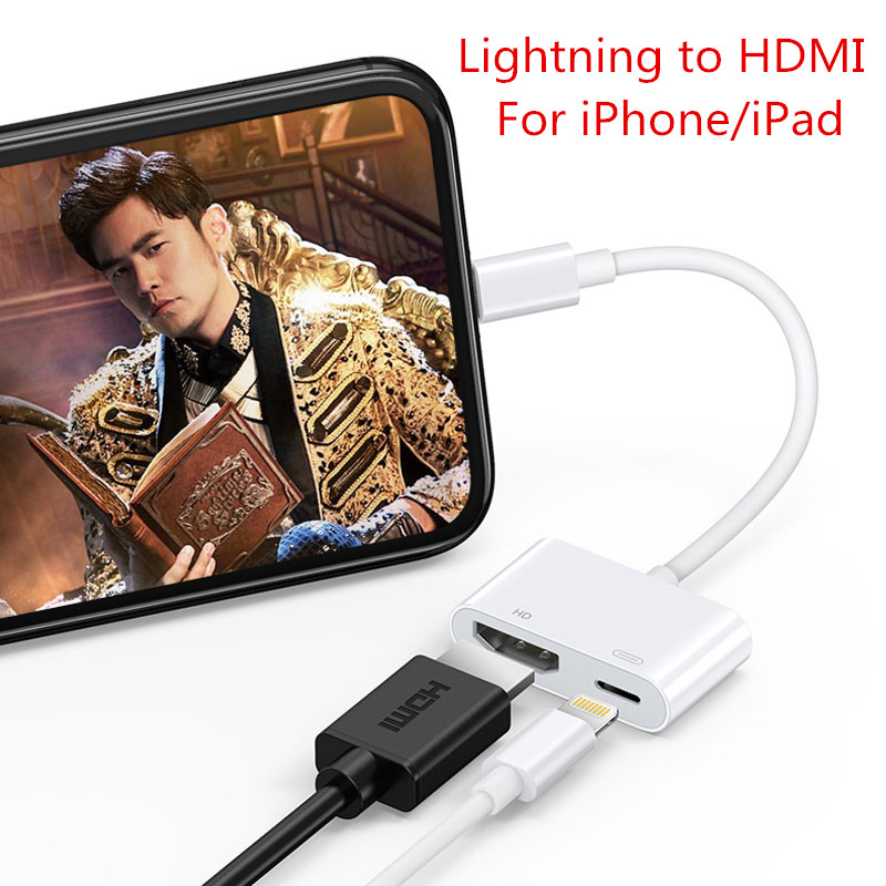 Hacrin HDMI Adapter For IPhone 7 8 Xr 11 Xs X Xs Max Lightning To Hdmi Cable To TV/Projector Converter For IPad Hdmi Cable
