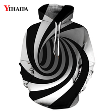 Stylish Mens Womens 3D Hoodies Hypnotic Vortex Sweatshirt Graphic Casual Long Sleeve Pullover Tracksuit Couples Tops zip front crop graphic pullover