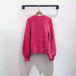 Image 4 - 2019 autumn winter runway women pullover red pink dark blue lady fashion jumper winter female sweater