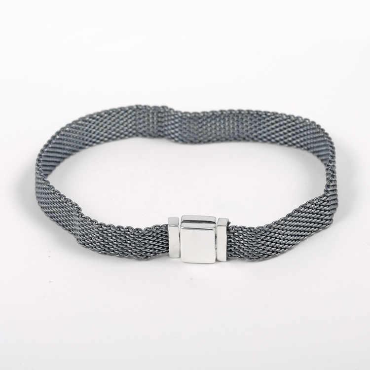 Original 925 Sterling Silber Armband Schwarz Woven Mesh Reflexions Armbänder Armreif Fit Frauen Perle Charme Diy Mode Schmuck
