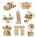 Robotime 3D Holz Puzzle Spiele Karussell Clockwork Music Box Stift Halter Modell Spielzeug Für Kinder Kinder Mädchen Geburtstag Geschenk