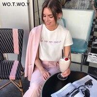 WOTWOY Lustige Brief Drucken T Shirt Frauen Casual Sommer Baumwolle Weiß T Shirt Femme Kurzarm Koreanische Tops Harajuku Regelmäßige fit