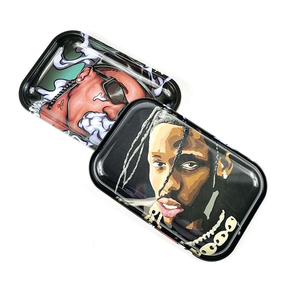 Large Rolling Tray Metal Herb Tobacco Weed Hand Cigarette Paper Roller Plate Smoke Pipe Accessories Double Surface Printing 2